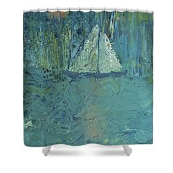 Night Sail Shower Curtain by Wayne Potrafka