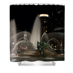 Night View Of Swann Fountain Shower Curtain by Bill Cannon
