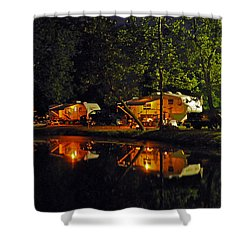 Nighttime In The Campground Shower Curtain by Kay Lovingood