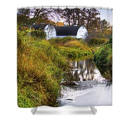 Nisqually Wildlife Refuge P21 The Twin Barns Shower Curtain by David Patterson