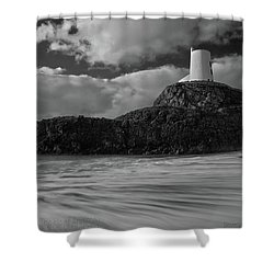 Niwbwrch Lighthouse Shower Curtain by Beverly Cash
