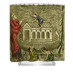 Noah Building The Ark Shower Curtain by Photo Researchers