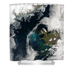 North Atlantic Bloom Shower Curtain by Science Source