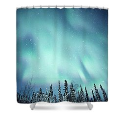 Northern Lights Over Snow Covered Shower Curtain by Robert Postma