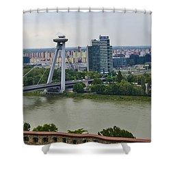 Novy Most Bridge - Bratislava Shower Curtain by Jon Berghoff