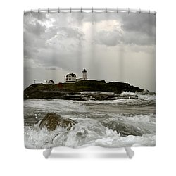 Nubble Lighthouse In The Thick Shower Curtain by Rick Frost