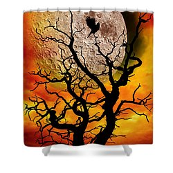 Nuclear Moonrise Shower Curtain by Meirion Matthias