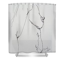Nude Breast Study Shower Curtain by Rand Swift