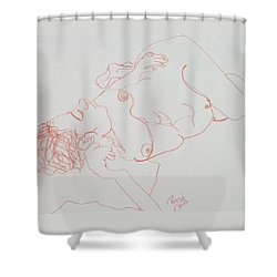 Nude Resting In Red Shower Curtain by Rand Swift