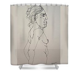 Nude Girl In Contour Shower Curtain by Rand Swift