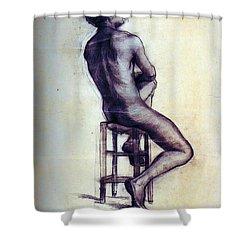 Nude Man Sketch Shower Curtain by Sumit Mehndiratta
