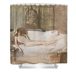 Nude On A Sofa Shower Curtain by John Ward