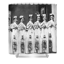 Nurses On Night Rounds 1899 Shower Curtain by Science Source