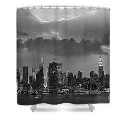 Nyc All Charged Up Bw Shower Curtain by Susan Candelario
