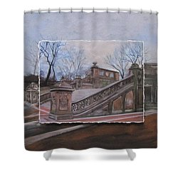Nyc Bethesda Stairs Layered Shower Curtain by Anita Burgermeister