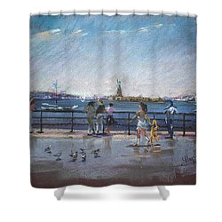 Nyc Grand Ferry Park 2 Shower Curtain by Ylli Haruni