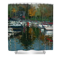 Oakville Harbour On Shower Curtain by Ylli Haruni