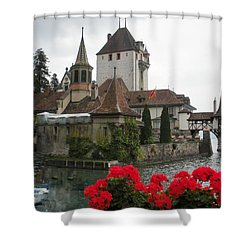 Oberhofen Castle Switzerland Shower Curtain by Marilyn Dunlap