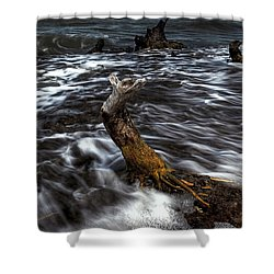 Ocean Flow Shower Curtain by Nick  Shirghio