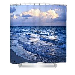 Ocean Waves On Beach At Dusk Shower Curtain