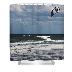 October Beach Kite Surfer Shower Curtain by Susanne Van Hulst