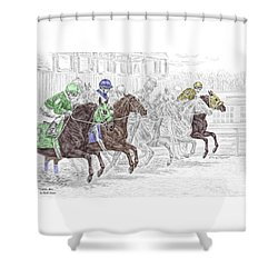 Shower Curtain featuring the drawing Odds Are - Tb Horse Racing Print Color Tinted by Kelli Swan