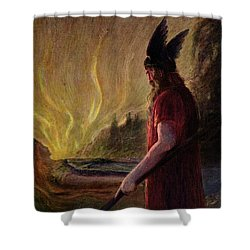 Odin Leaves As The Flames Rise Shower Curtain by H Hendrich
