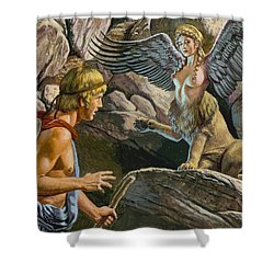 Oedipus Encountering The Sphinx Shower Curtain