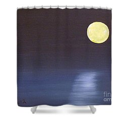 Offset Moon Shower Curtain by Alys Caviness-Gober