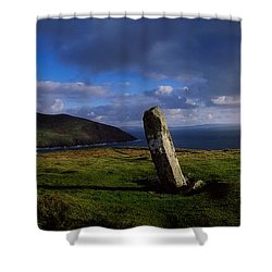Ogham Stone At Dunmore Head, Dingle Shower Curtain by The Irish Image Collection