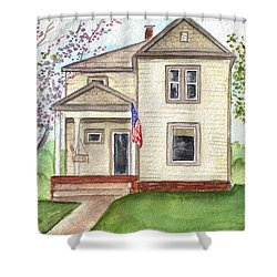 Shower Curtain featuring the painting Ohio Cottage With Flag by Clara Sue Beym
