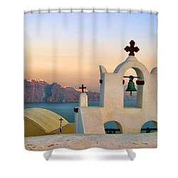 Oia In Santorini Shower Curtain by David Smith