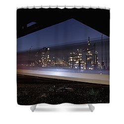Oil Refinery And Train Blur Shower Curtain by Mike Raabe