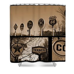 Oil Sign Retirement Shower Curtain