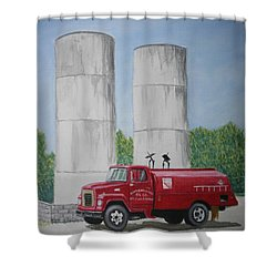 Shower Curtain featuring the painting Oil Truck by Stacy C Bottoms