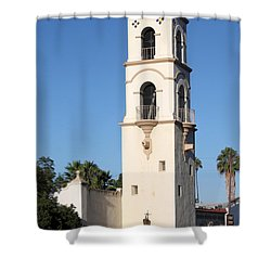 Shower Curtain featuring the photograph Ojai Post Office Tower by Henrik Lehnerer