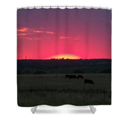 Okie Sunset Shower Curtain by Adam Cornelison