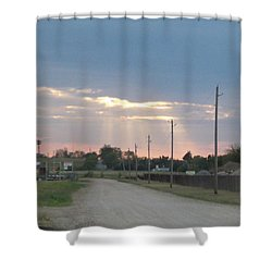 Oklahoma Beamer Shower Curtain by Adam Cornelison