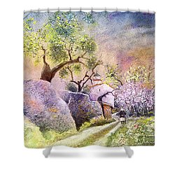 Old And Lonely In Spain 06 Shower Curtain by Miki De Goodaboom
