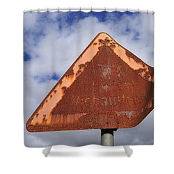 Old And Rusty Traffic Sign Shower Curtain by Matthias Hauser