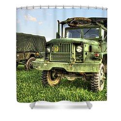 Old Army Truck In Field Shower Curtain by Dan Friend