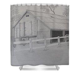 Old Austane Barn Shower Curtain by Brian Leverton