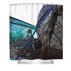 Old Boat And Flagons Shower Curtain
