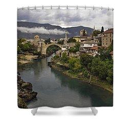 Old Bridge Of Mostar Shower Curtain by Ayhan Altun