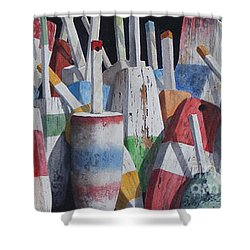 Old Buoy Hangout  Sold Printa Available Shower Curtain