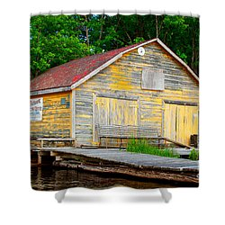 Shower Curtain featuring the photograph Old Cabin by Les Palenik