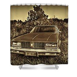 Old Car In Field Shower Curtain by Dan Friend