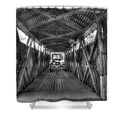 Old Car On Covered Bridge Shower Curtain by Dan Friend