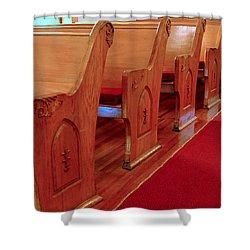 Old Church Pews Shower Curtain by LeeAnn McLaneGoetz McLaneGoetzStudioLLCcom