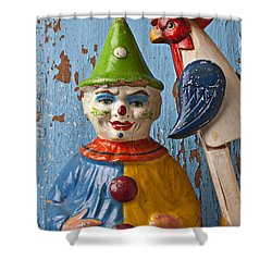 Old Clown And Roster Shower Curtain by Garry Gay